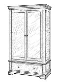 Wardrobe illustration, drawing, engraving, ink, line art, vector