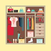 Wardrobe of woman's cloths and accessories. Flat style vector illustration.