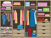 Wardrobe room full of woman's cloths. Flat style vector