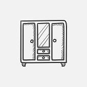 Wardrobe with mirror sketch icon