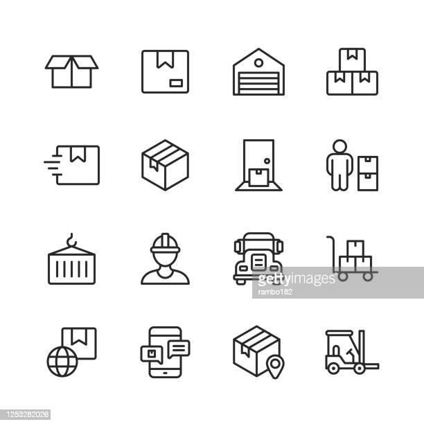 倉庫と配電ラインのアイコン編集可能なストローク。ピクセルパーフェクト。モバイルとウェブ用。パッケージ、箱、ガレージ、在庫、ドア、コンテナ、セミトラック、倉庫労働者、フォー� - 荷積み場点のイラスト素材/クリップアート素材/マンガ素材/アイコン素材