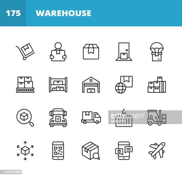 lager- und verteilungszeilensymbole. bearbeitbarer strich. pixel perfekt. für mobile und web. enthält symbole wie paket, lieferung, box, sendung, montagelinie, inventar, garage, gabelstapler, barcode, flugzeug, logistik, distributionszentrum, lkw. - abschicken stock-grafiken, -clipart, -cartoons und -symbole
