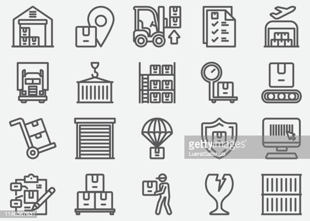 warehouse and storage line icons - storage compartment stock illustrations