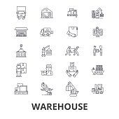 Warehouse building, logistics, delivery, storage, forklift, industry, store line icons. Editable strokes. Flat design vector illustration symbol concept. Linear isolated signs