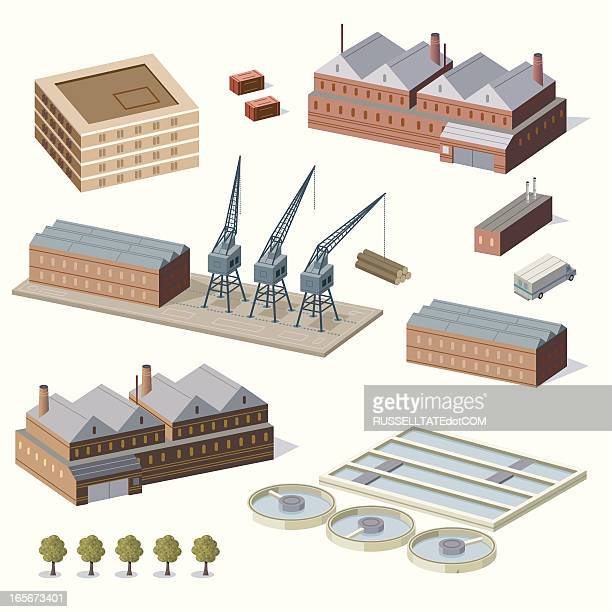 warehouse buildings and water treatment plant - water treatment stock illustrations, clip art, cartoons, & icons