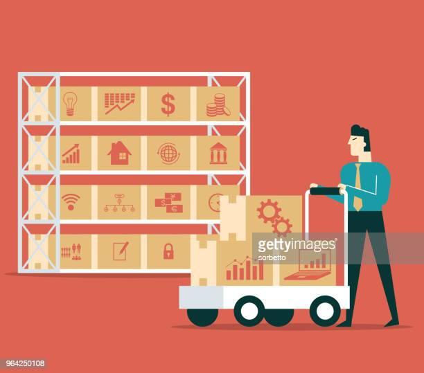 ilustrações, clipart, desenhos animados e ícones de armazém - empresário - embalagem cartonada
