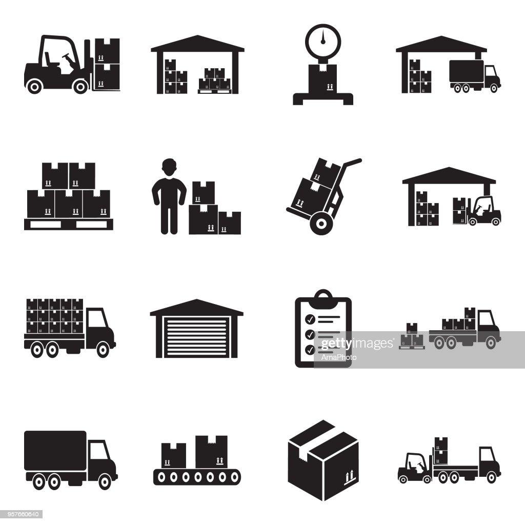 Warehouse Icons. Black Flat Design. Vector Illustration.