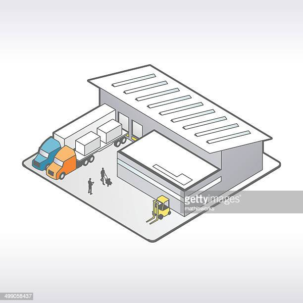 アイソメトリック倉庫イラストレーション - 荷積み場点のイラスト素材/クリップアート素材/マンガ素材/アイコン素材