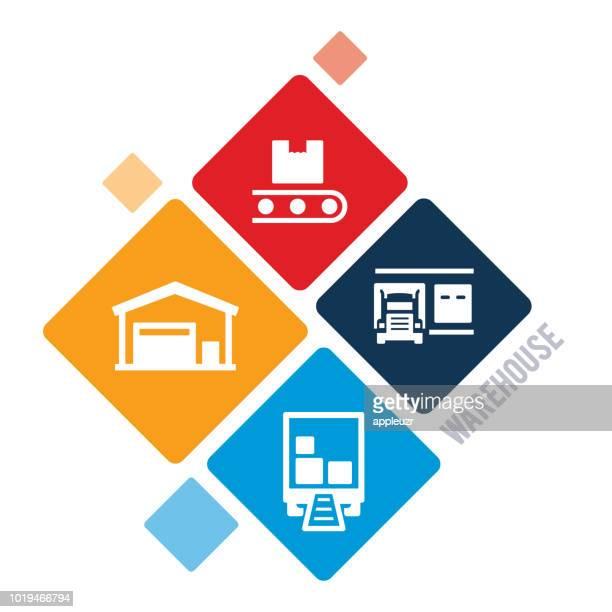 倉庫の図 - 荷積み場点のイラスト素材/クリップアート素材/マンガ素材/アイコン素材