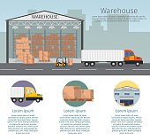 Warehouse interior storage vector set, with shipping delivery, roof lamps
