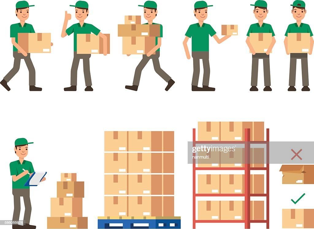 Warehouse Inventory delivery workers Modern flat style vector illustration