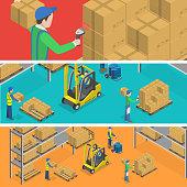 Warehouse isometric flat vector illustration.