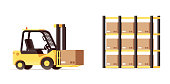 warehouse logistics forklift pallets yellow car isolated on whit