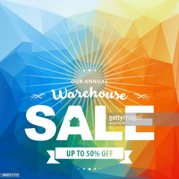 warehouse sale banner - garage sale stock illustrations