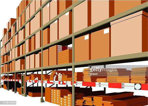 warehouse - storage room stock illustrations, clip art, cartoons, & icons
