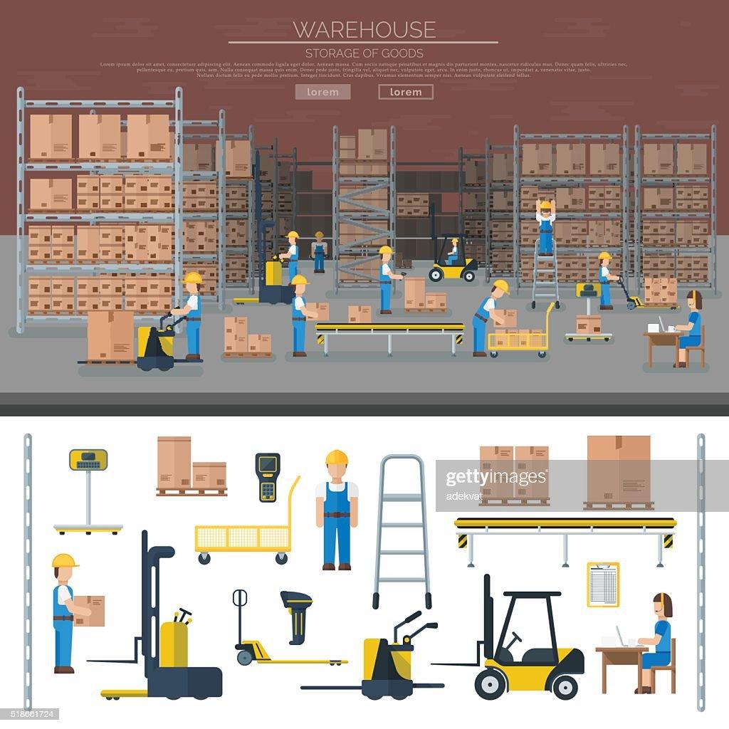 Warehouse worker taking package in shelf logistic industry flat vector