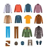 Warm casual clothes for men vector icons