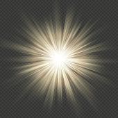 Warm glow star burst flare explosion transparent light effect. EPS 10