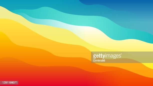 warmer bis kühler abstrakt geschichteter welliger hintergrund - färbemittel stock-grafiken, -clipart, -cartoons und -symbole