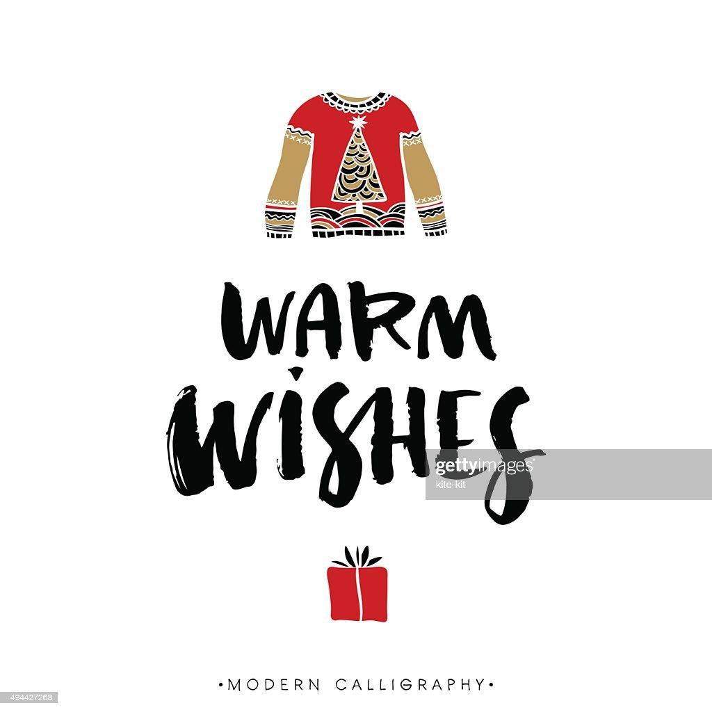 Warm wishes. Christmas calligraphy.
