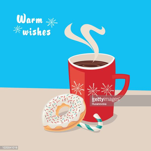 warm wishes! cup of hot chocolate with candy cane and donut - donut stock illustrations, clip art, cartoons, & icons