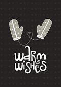 Warm wishes - Cute hand drawn Christmas postcard with lettering and doodle ellements. New Year phrase and quote.