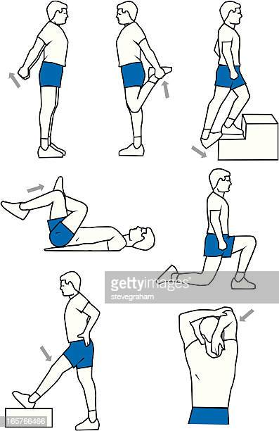 warm-up exercises - stretching stock illustrations, clip art, cartoons, & icons