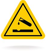 Warning acid sign. Triangle yellow chemistry sticker.
