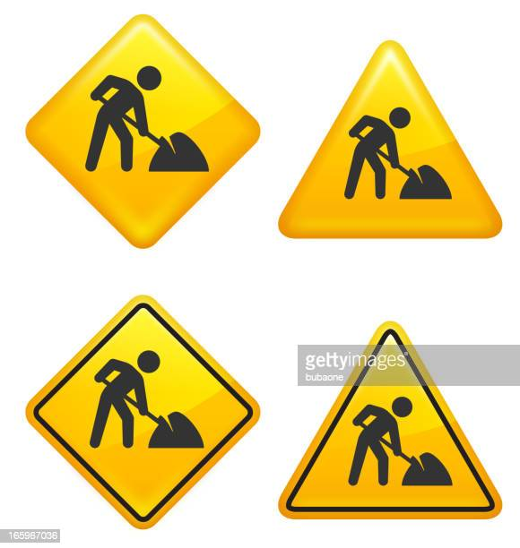 ilustrações de stock, clip art, desenhos animados e ícones de aviso e precaução construção sinais de rua - gari