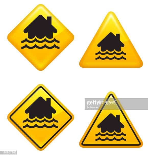 warning and caution flooding street signs - monsoon stock illustrations, clip art, cartoons, & icons