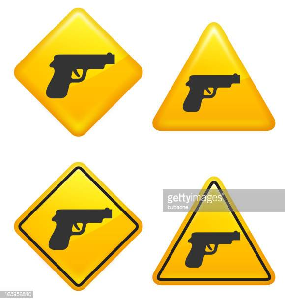 warning and caution gun control street signs - private property stock illustrations