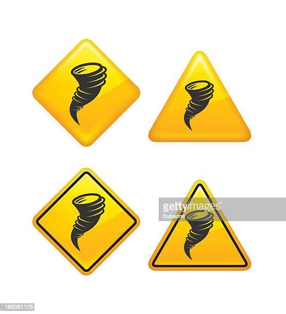 warning and caution tornado street signs - monsoon stock illustrations, clip art, cartoons, & icons