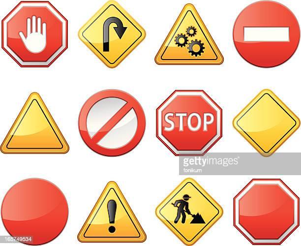 illustrations, cliparts, dessins animés et icônes de panneau d'avertissement et de construction - panneau stop