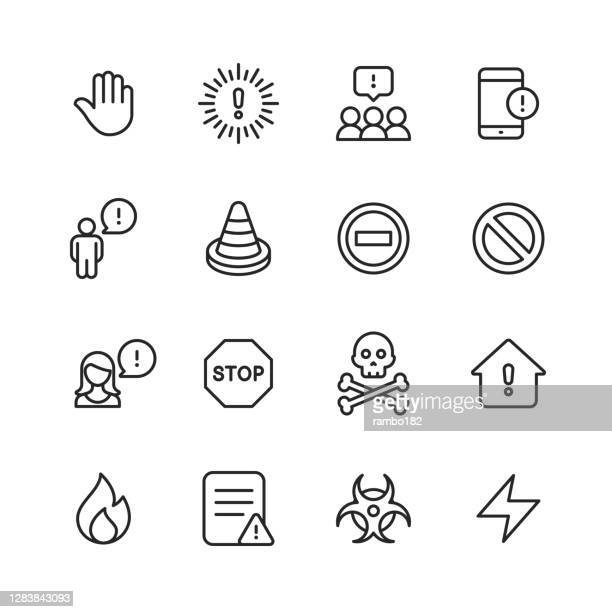 warning and danger line icons. editable stroke. pixel perfect. for mobile and web. contains such icons as warning sign, danger, alert, accident, caution, stop, communication, computer virus, hacker, identity thief, biohazard, protection, error message. - alertness stock illustrations