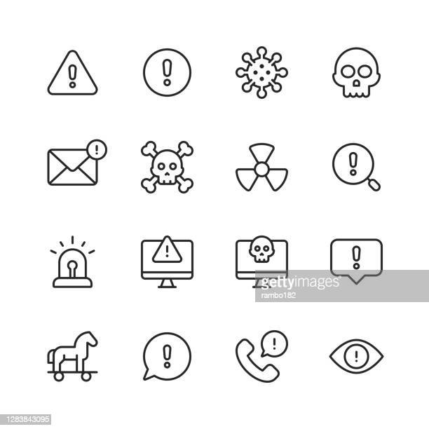 warning and danger line icons. editable stroke. pixel perfect. for mobile and web. contains such icons as warning sign, danger, alert, accident, caution, stop, communication, computer virus, hacker, identity thief, biohazard, protection, error message. - computer virus stock illustrations