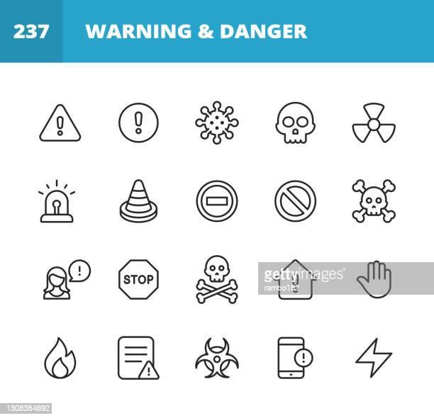 warn- und gefahrenliniensymbole. bearbeitbarer strich. pixel perfekt. für mobile und web. enthält symbole wie warnzeichen, gefahr, warnung, unfall, vorsicht, stopp, kommunikation, computervirus, hacker, identitätsdieb, biohazard, schutz, fehlermeldung. - gift hand stock-grafiken, -clipart, -cartoons und -symbole