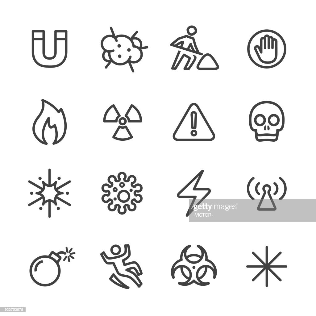 Warning and Hazard Icons - Line Series : stock illustration
