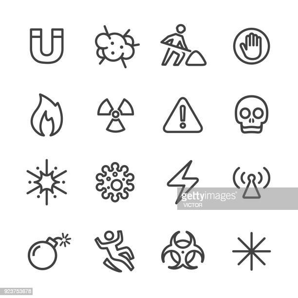 warning and hazard icons - line series - exclamation mark stock illustrations