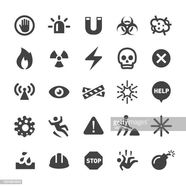 warning and hazard icons - smart series - private property stock illustrations