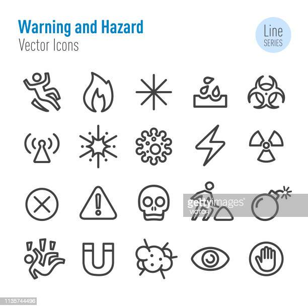 warning and hazard icons - vector line series - exclamation mark stock illustrations