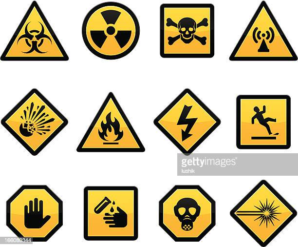 warning and hazard - danger stock illustrations
