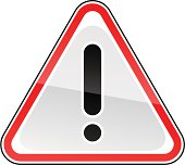 Warning attention sign black exclamation mark pictogram red triangular shape