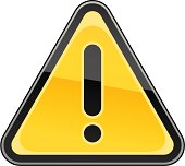 Warning attention sign black exclamation mark pictogram yellow triangular shape