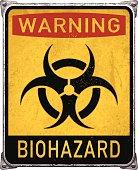 Warning biohazard metal placard with biohazard symbol_vector