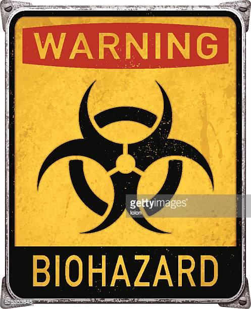 ilustraciones, imágenes clip art, dibujos animados e iconos de stock de advertencia de riesgo biológico cartel con symbol_vector de riesgo biológico metal - arma biológica