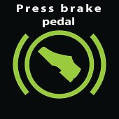 Warning dashboard sign. Press break pedal warning vector green colour flat icon. Foot on the break. Automatic gear symbol.