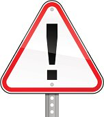 Warning exclamation mark triangle red road sign perforated pillar