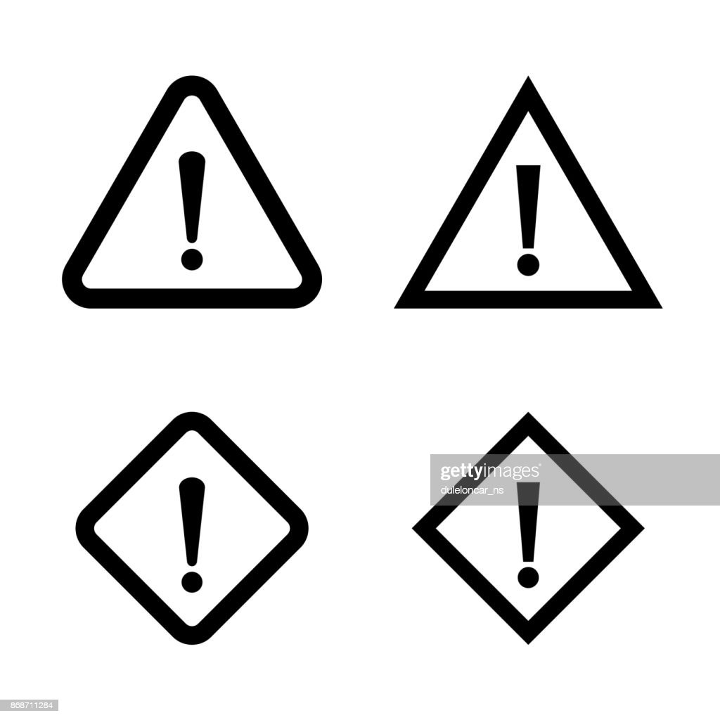 Warning Exclamation Signs. Vector Icons