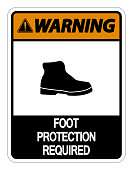 Warning Foot Protection Required Wall Sign on white background
