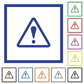 Warning framed flat icons